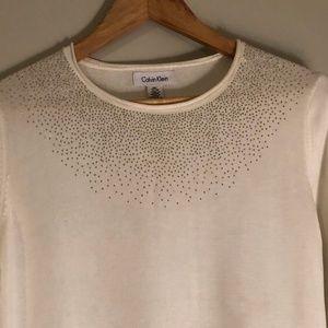 Calvin Klein Sheer Sweater Rhinestone Embellished